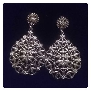 Jewelry - Gorgeous Silvertone Filigree Statement Earrings ✳️